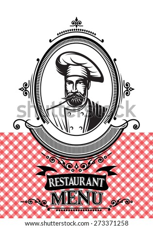 vector template for a restaurant menu with the chef and cloth