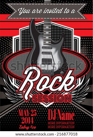 vector template for a rock concert with guitar - stock vector