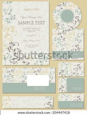Vector template for business artworks: folder, CD cover, envelope, business card and invitation on victorian background. Wedding invitations - stock vector