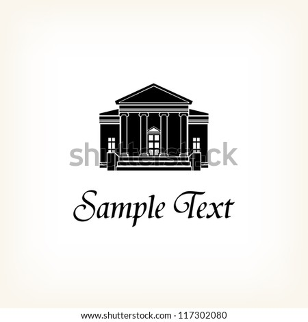 Vector template for design with vintage mansion and sample text. Illustration of retro house and place for your text - stock vector