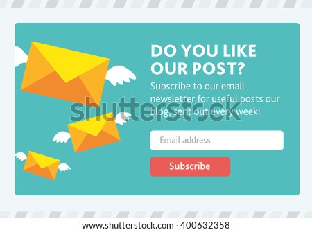 Vector template for email subscribe. With envelopes. - stock vector