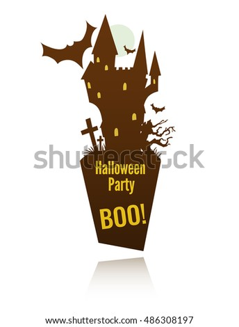 vector template for halloween celebration label with the doom castle and a space for your text