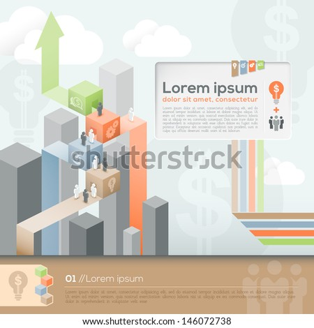 Vector Template for Info-graphics / workflow layout /Business plan/ Diagram / Brochure layout - stock vector