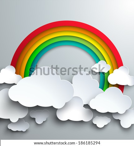 Vector template for infographics or web design - stylized paper cutout clouds and rainbow.  - stock vector