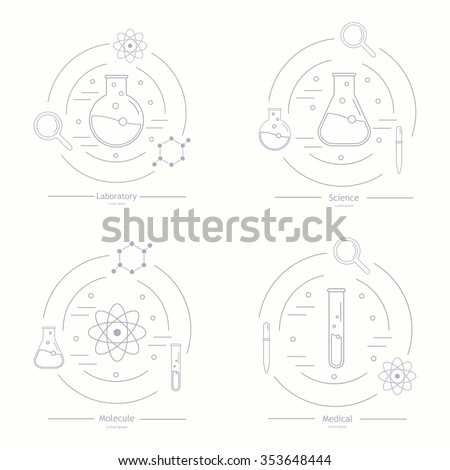 Vector template for medicine, science, technology, chemistry, biotechnology. Science icons. Laboratory ecology vector icon logo. Chemicals, science logo icon,technology logo. Research and science. - stock vector