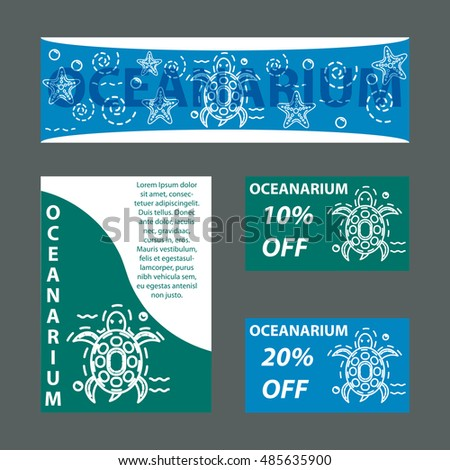 Vector template for oceanarium with sea turtle. Template for card, brochure, leaflet, poster, card, advertisement, banner, flyer, blank,  menu, vegan cafe, shop, discount card.