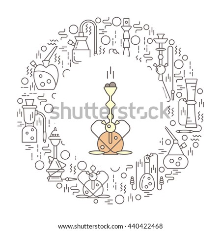 Vector template for packing with a hookah in the trendy linear style. Perfect for tobacco packaging design. Vector background collection. - stock vector
