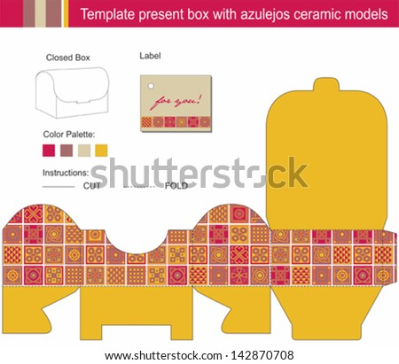 Vector template for present box with blue azulejos ceramic models - stock vector