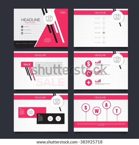 Vector Template for Presentation pink version - stock vector
