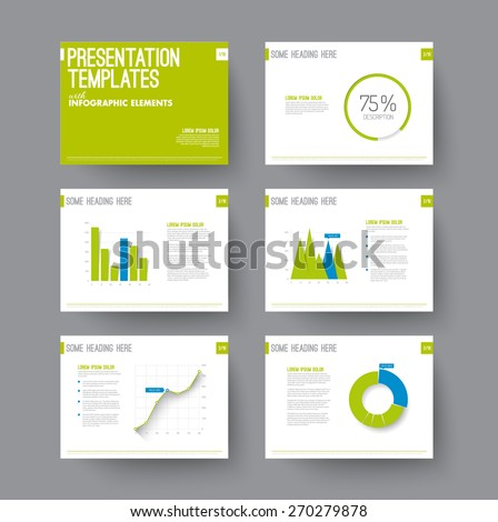 Vector Template for presentation slides with graphs and charts - blue and green version - stock vector