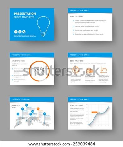 Vector Template for presentation slides with graphs and charts - blue and orange version - stock vector