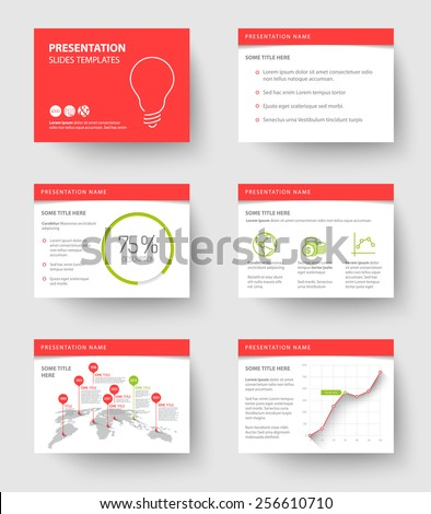 Vector Template for presentation slides with graphs and charts - red and green version - stock vector