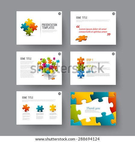 Vector Template for presentation slides with puzzle pieces - stock vector