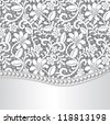 Vector template for wedding, invitation or greeting card with lace background and pearl necklace - stock vector