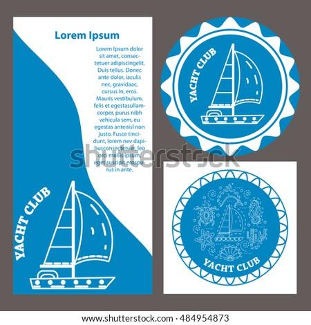 Vector template yacht club yacht race stock vector 484954873 vector template for yacht club yacht race yacht in thin line stile on blue toneelgroepblik Images