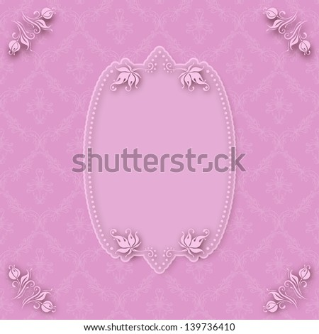 Vector template frame design for greeting card . Background - seamless pattern. EPS 10. - stock vector