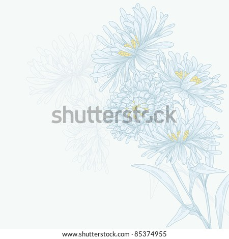 Vector template frame design with asters for greeting card.