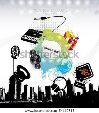 Vector. Template grunge party - stock vector