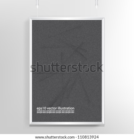 Vector template hanging black board with frame - eps10 - stock vector
