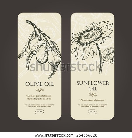 Vector template labels for olive and sunflowers oils. Woodcut style. - stock vector