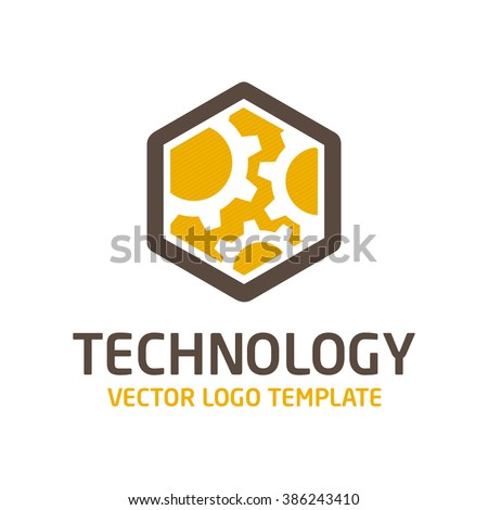 Vector template logo gear. Icon of high-tech equipment. The sign of the future of nanotechnology. - stock vector