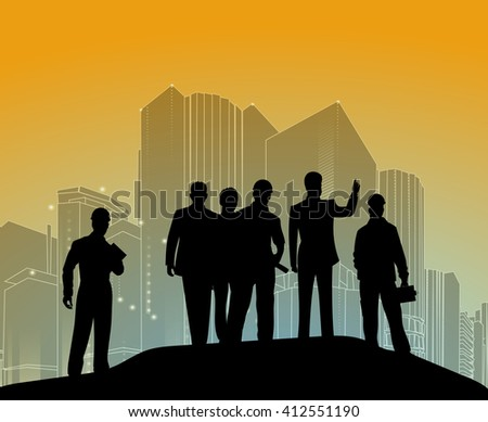 Vector template of a group of business and office people with city landscape