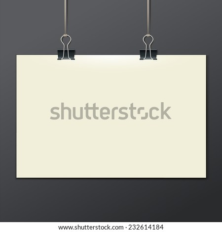 Vector template of a paper sheet, poster, picture frame, on a dark background, vector illustration eps 10 - stock vector