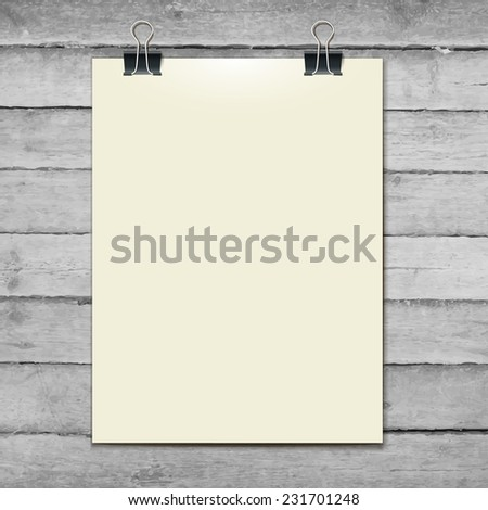 Vector template of a paper sheet, poster, picture frame on the wooden table. vector illustration eps 10 - stock vector