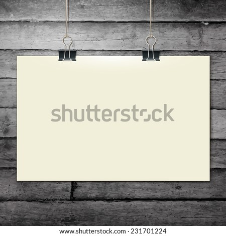 Vector template of a paper sheet, poster, picture frame, on wooden background, vector illustration eps 10 - stock vector