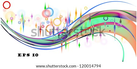 Vector template of a rainbow, abstraction a rainbow with stones, a wave. eps10. A vector
