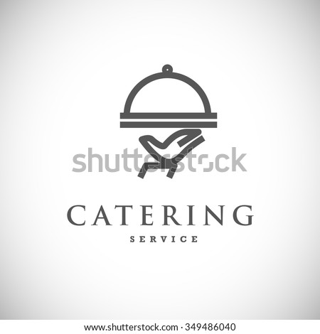 Vector template of catering company logo isolated on white background. Food, tray logo design. Catering, outdoor events and restaurant service insignia, food icons.  - stock vector