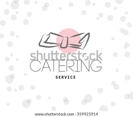 Vector template of catering company logo. Restaurant, catering, outdoor events and restaurant service insignia, food icons. Hand drawn elements. - stock vector