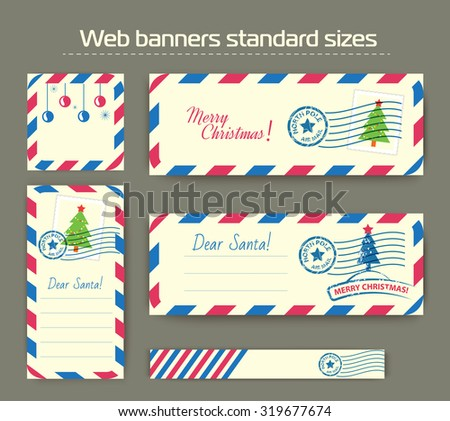 vector template of Christmas banners for websites or social networks. Standard sizes Card, banner and pattern background.  - stock vector