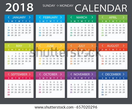 Vector Template Color 2018 Calendar Sunday Stock Vector 657020296 ...