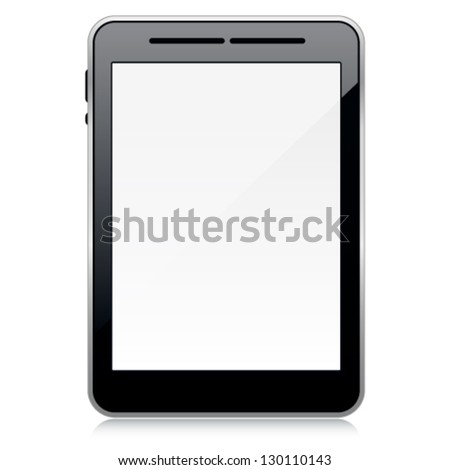 Vector template of 3d blank tablet PC with reflection on white background. Image contains transparency and can be placed on every surface. 10 EPS