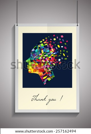 Vector template of frame with poster, placed in interior. Mockup for your posters. EPS - stock vector