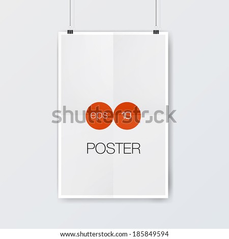 Vector template of  paper poster on white wall. Vector illustration. - stock vector