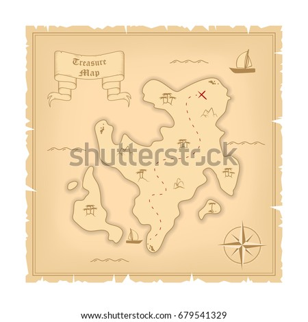 Vector Template Pirate Old Treasure Map Stock Photo (Photo, Vector ...