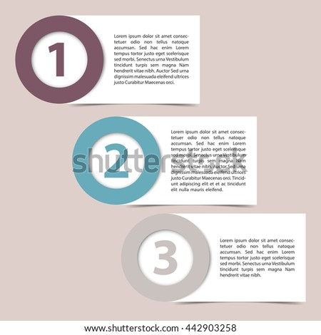 Vector template of three color steps timeline papers.