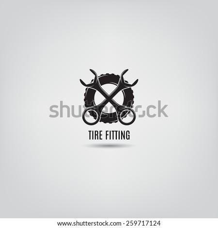 Vector template of tire fitting logo. Vector template of car service logo. Logo template for your design.  - stock vector