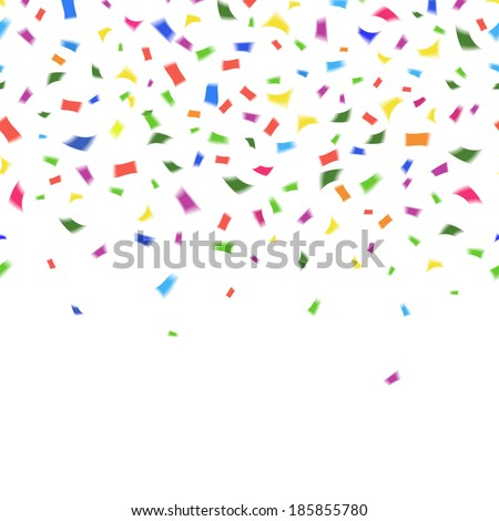Vector template of vibrant colorful confetti in the colors of the rainbow on white with copyspace for your greeting card text or invitation for New Year  Christmas  wedding or birthday