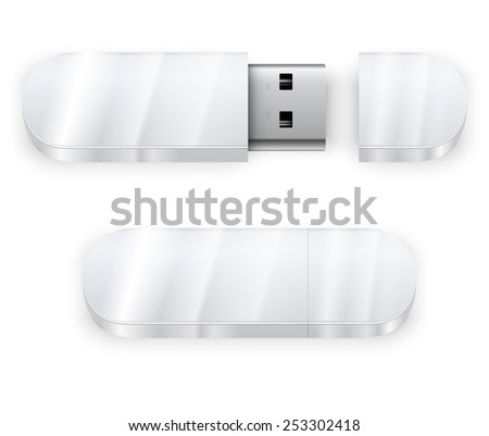 Vector template of white glossy, shine blank USB flash drive , good for placing logo and identify set - stock vector