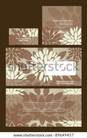 Vector template on floral background: envelope, business card and invitation on floral background - stock vector