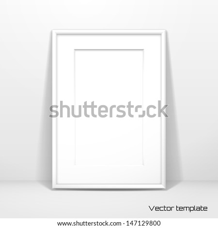 Vector  template. Picture frame design with passepartout. Realistic shadow. - stock vector