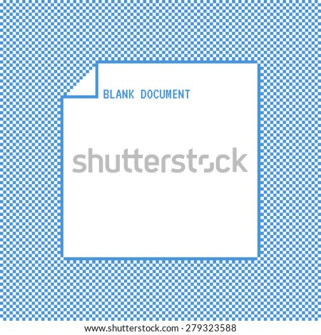 Vector template pixel art blank document - stock vector