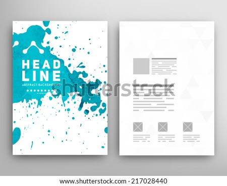 Vector Template Poster. Watercolor Abstract Background. Paint Splash. - stock vector