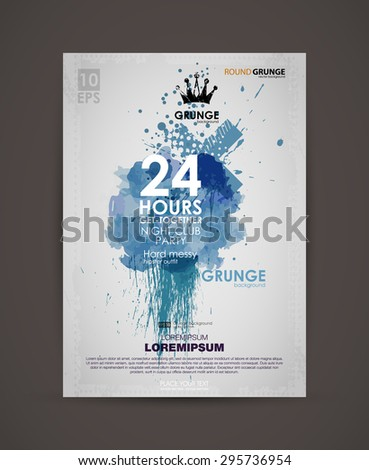 Vector template poster with watercolor paint abstract background. Grunge banner with an inky dribble strip with copy space. Abstract background for party. Grunge print for t-shirt.  - stock vector
