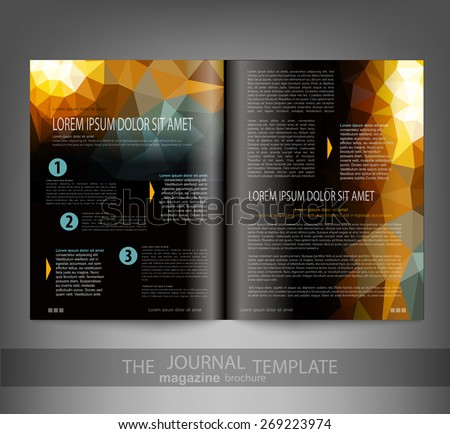 vector template print edition of the journal with an abstract pattern of triangles - stock vector