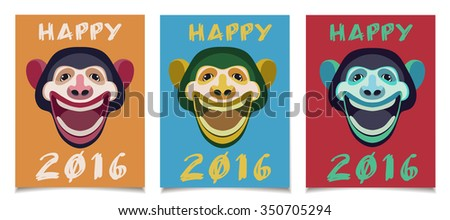 Vector template set. New Year Greeting Cards with Smiling Monkey Head. Red. Orange. Blue. - stock vector