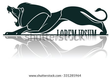 Vector template tattoo. Image graphic style of lion with long shadow.